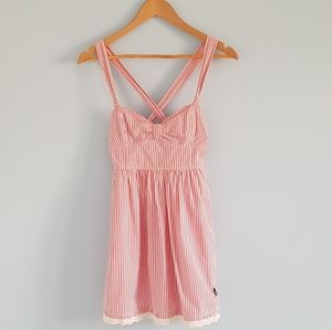 A&F candy stripe sweetheart dress with eyelet trim